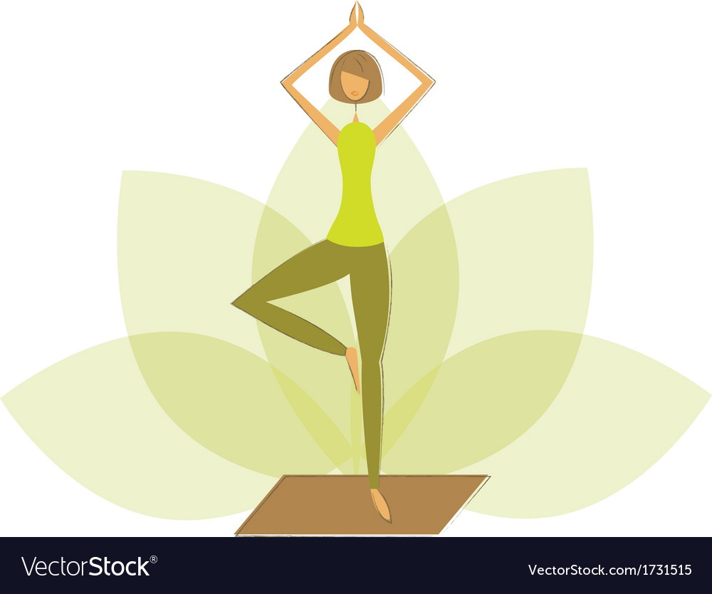 Woman in tree pose vector | Price: 1 Credit (USD $1)