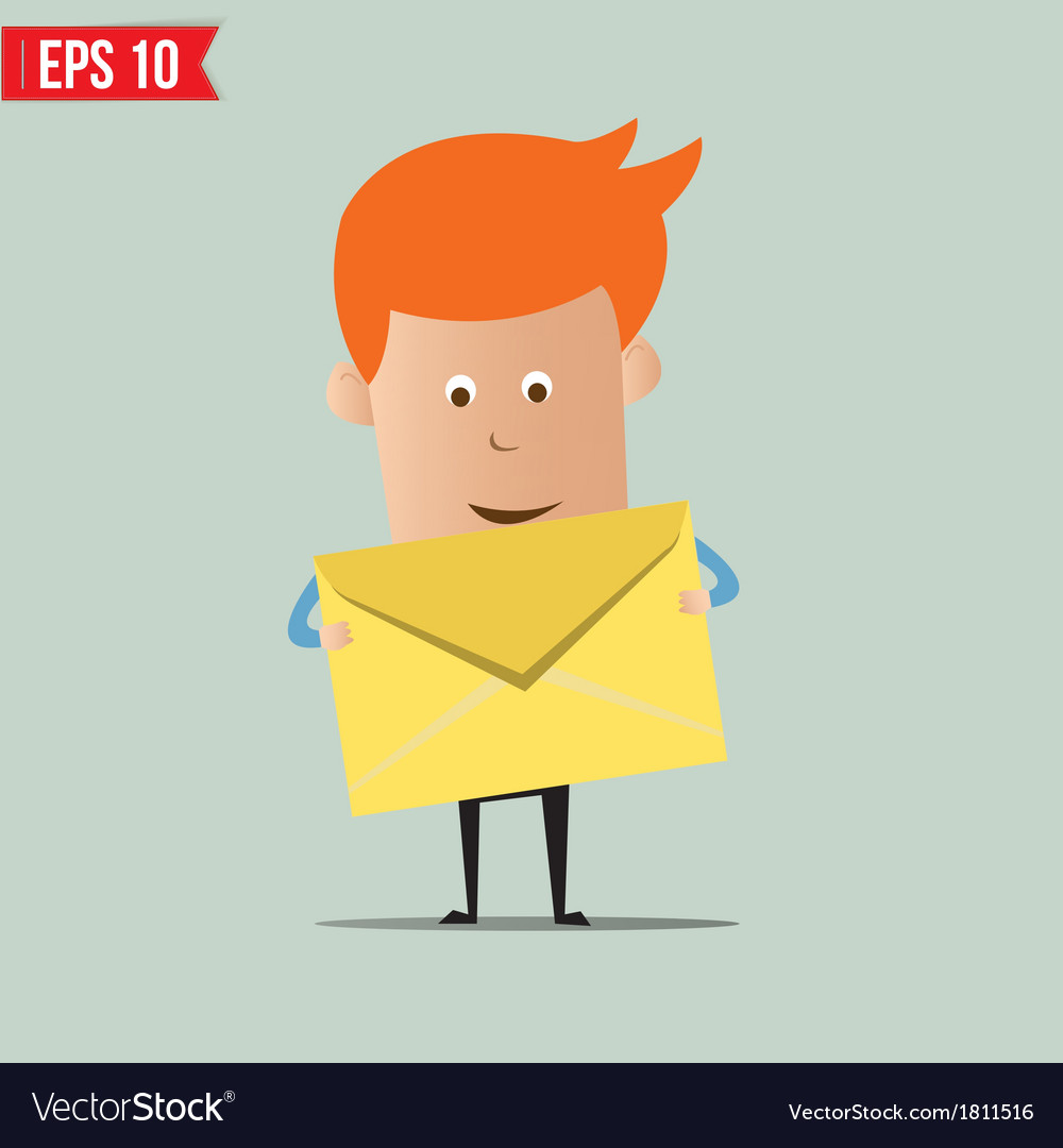Business man holding envelope vector | Price: 1 Credit (USD $1)