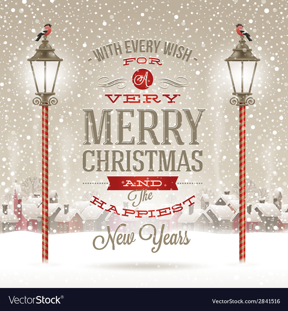 Christmas type design with vintage street lantern vector | Price: 1 Credit (USD $1)