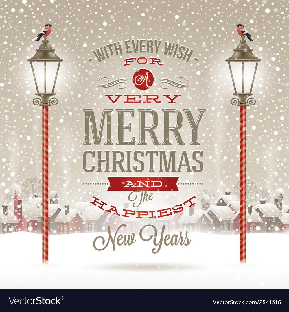 Christmas type design with vintage street lantern vector | Price: 1 Credit (USD $1)