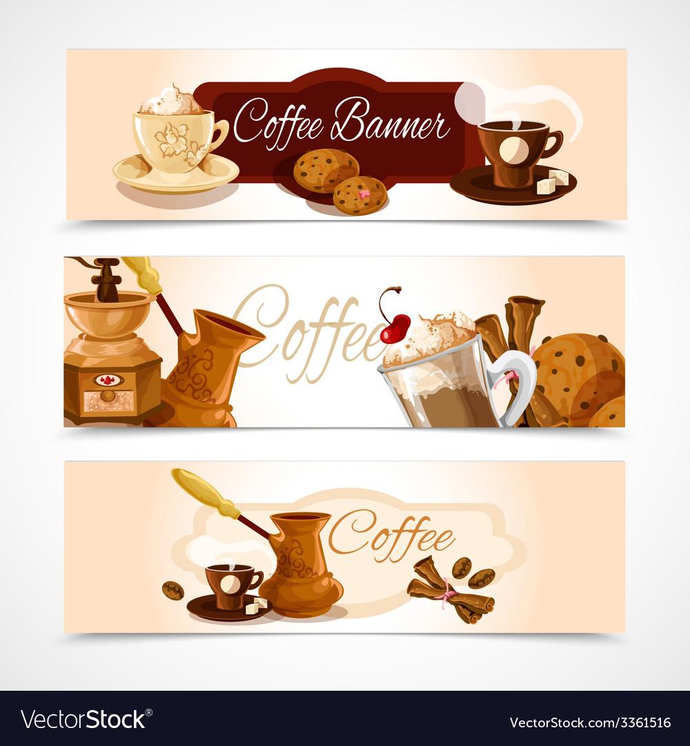 Coffee banners horizontal vector   Price: 1 Credit (USD $1)