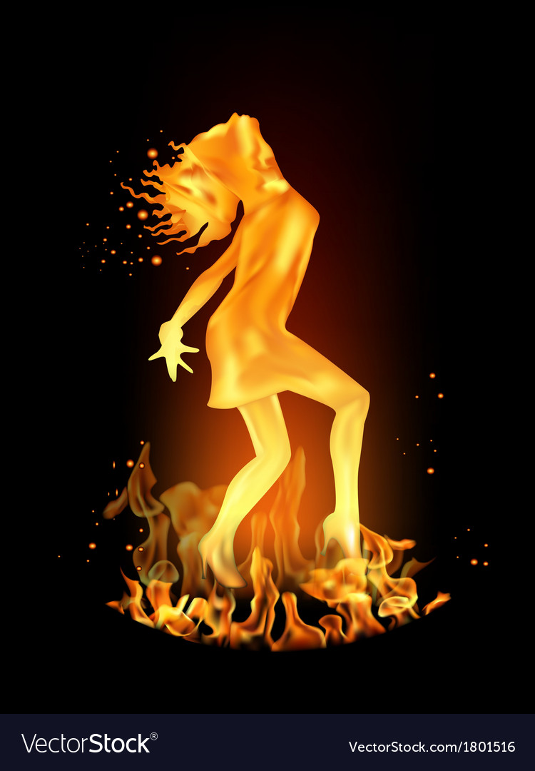 Dancing girl made of fire vector | Price: 1 Credit (USD $1)