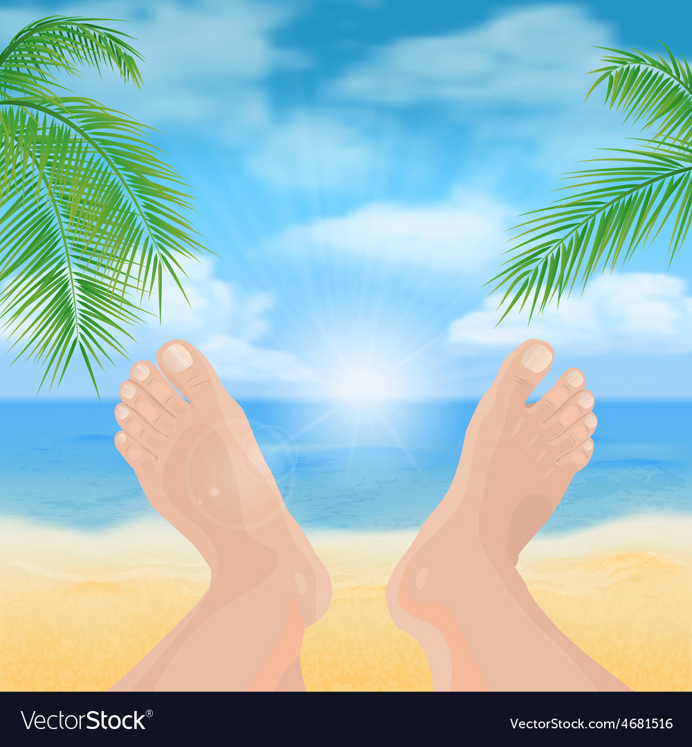 Feet on the beach vector | Price: 1 Credit (USD $1)
