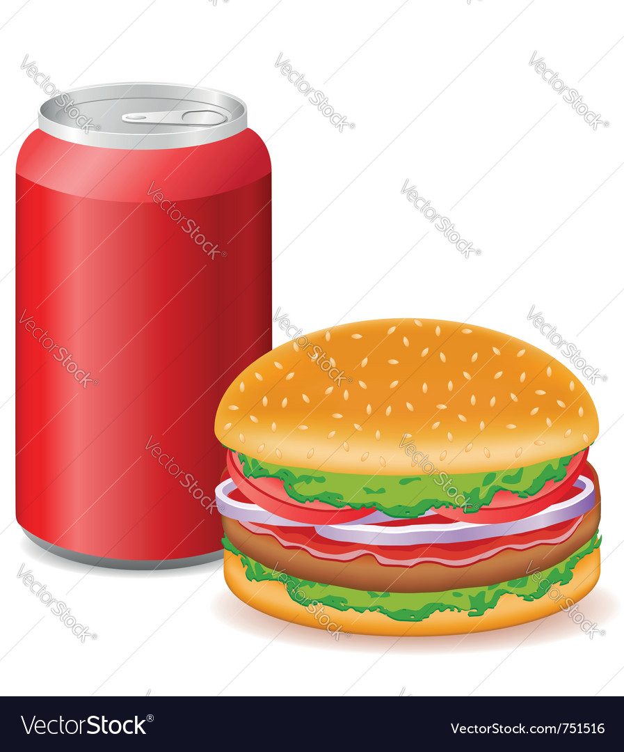 Hamburger and aluminum cans with soda vector | Price: 3 Credit (USD $3)