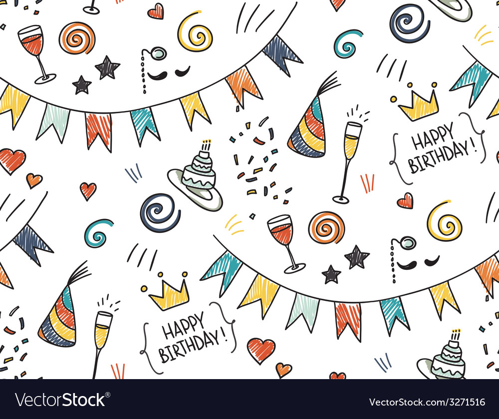 Hand drawn seamless doodle pattern birthday theme vector | Price: 1 Credit (USD $1)
