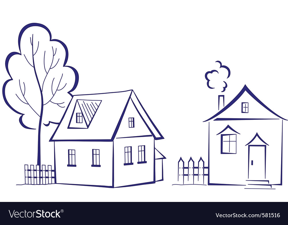 Houses with a tree vector | Price: 1 Credit (USD $1)