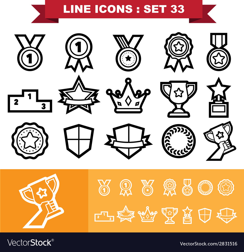 Line icons set 33 vector | Price: 1 Credit (USD $1)