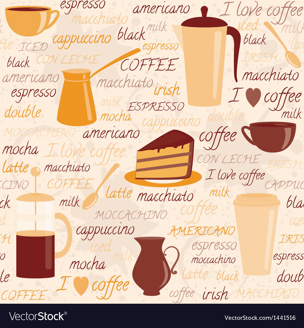 Seamless pattern with coffee related elements vector | Price: 1 Credit (USD $1)