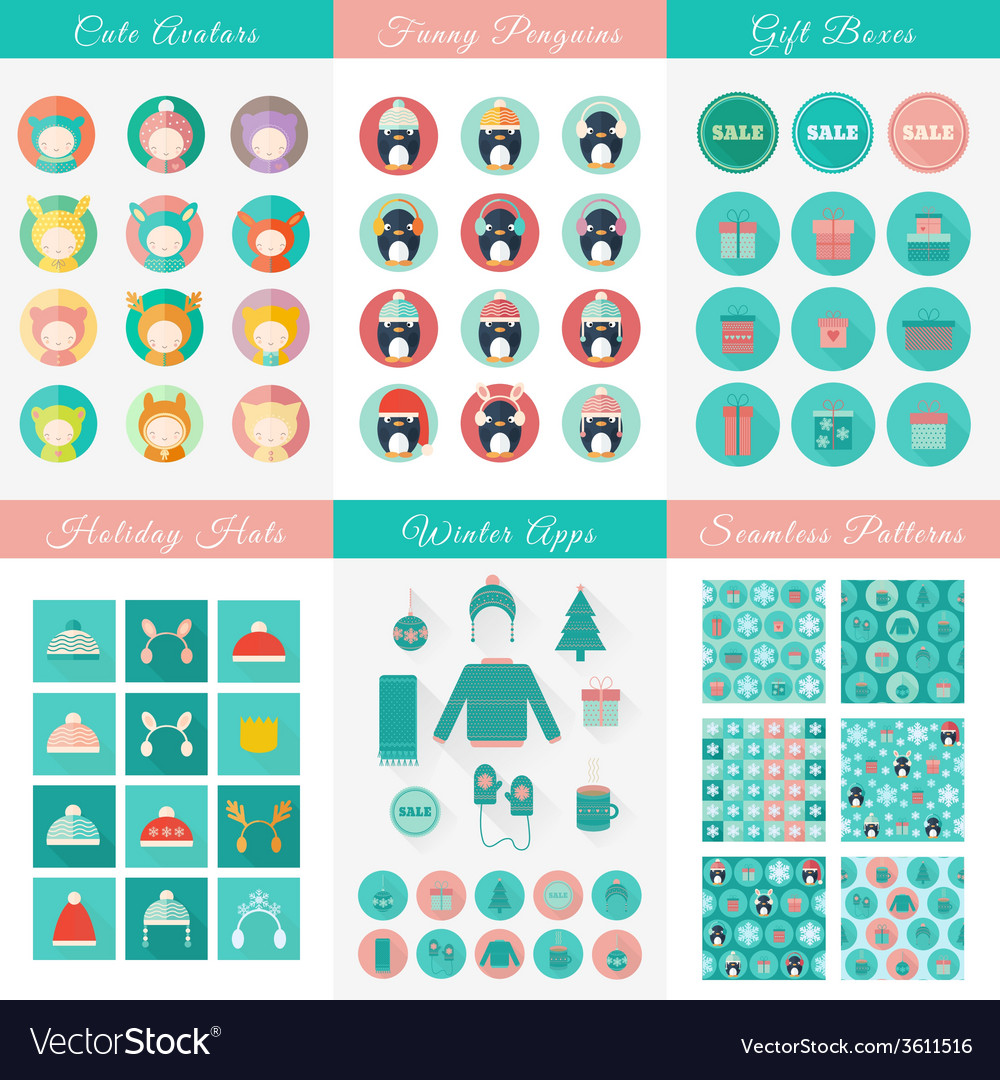 Set of design elements for christmas and new year vector | Price: 1 Credit (USD $1)