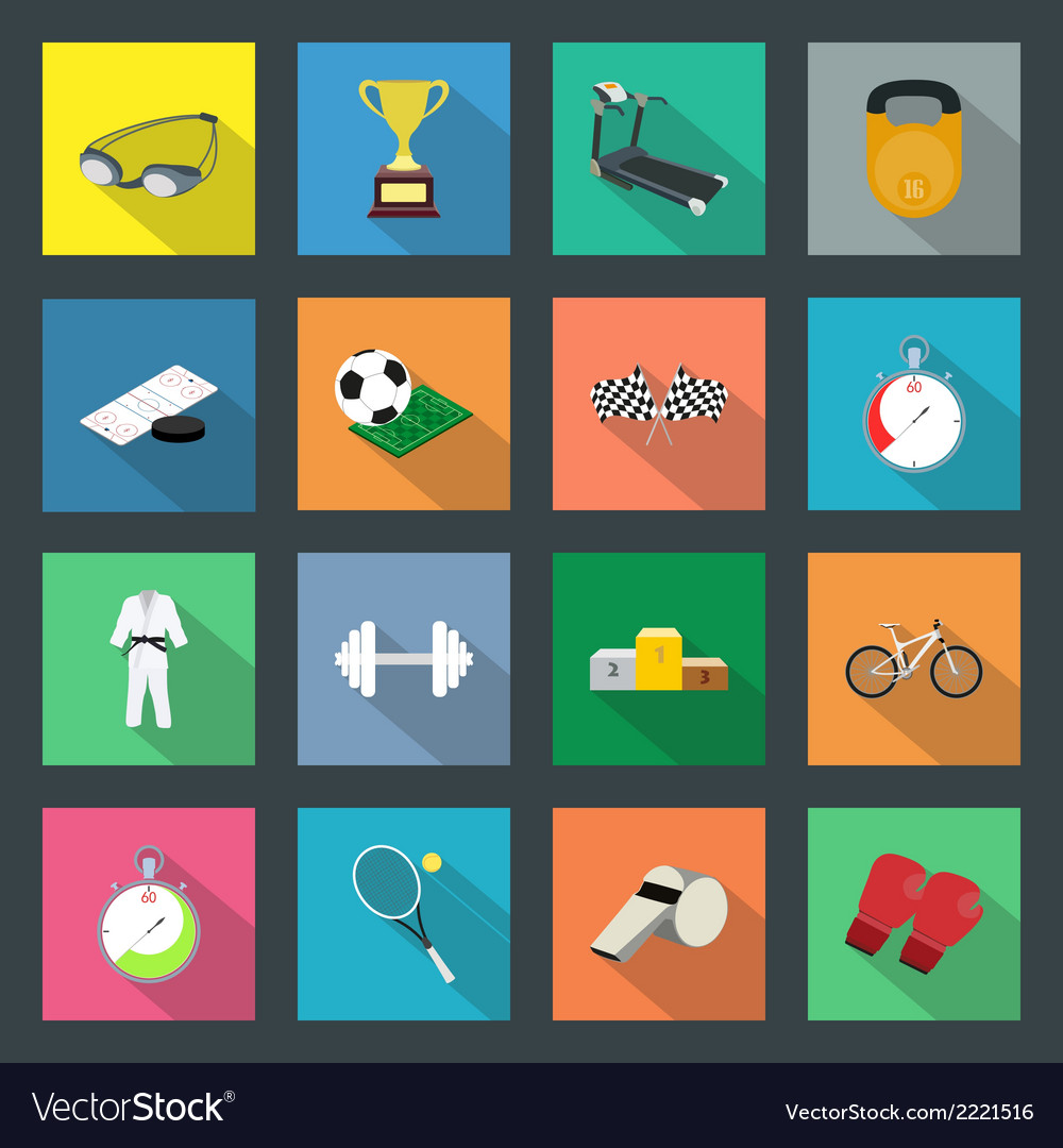 Sport flat icons set vector   Price: 1 Credit (USD $1)