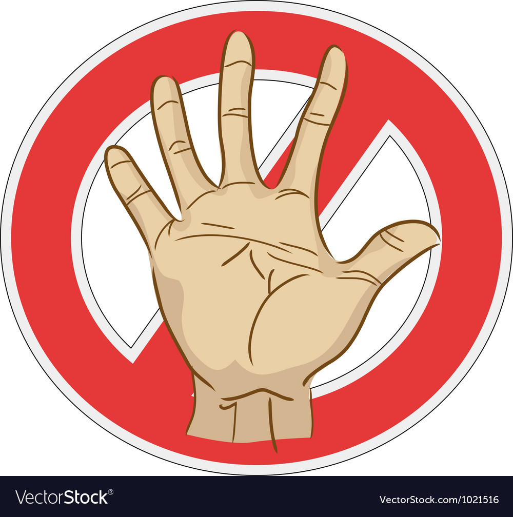 Stop sign with hand vector | Price: 1 Credit (USD $1)