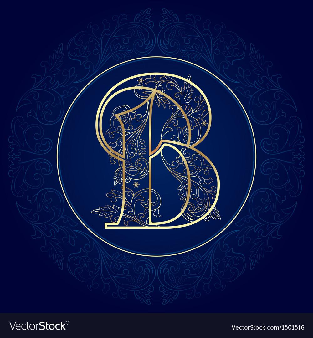 Vintage floral alphabet letter b vector | Price: 1 Credit (USD $1)
