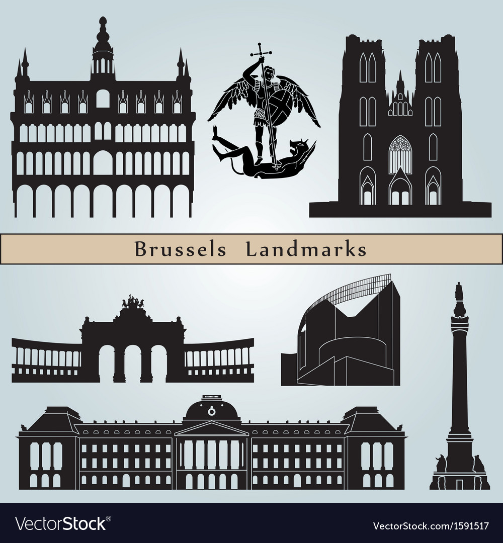 Brussels landmarks and monuments vector | Price: 1 Credit (USD $1)