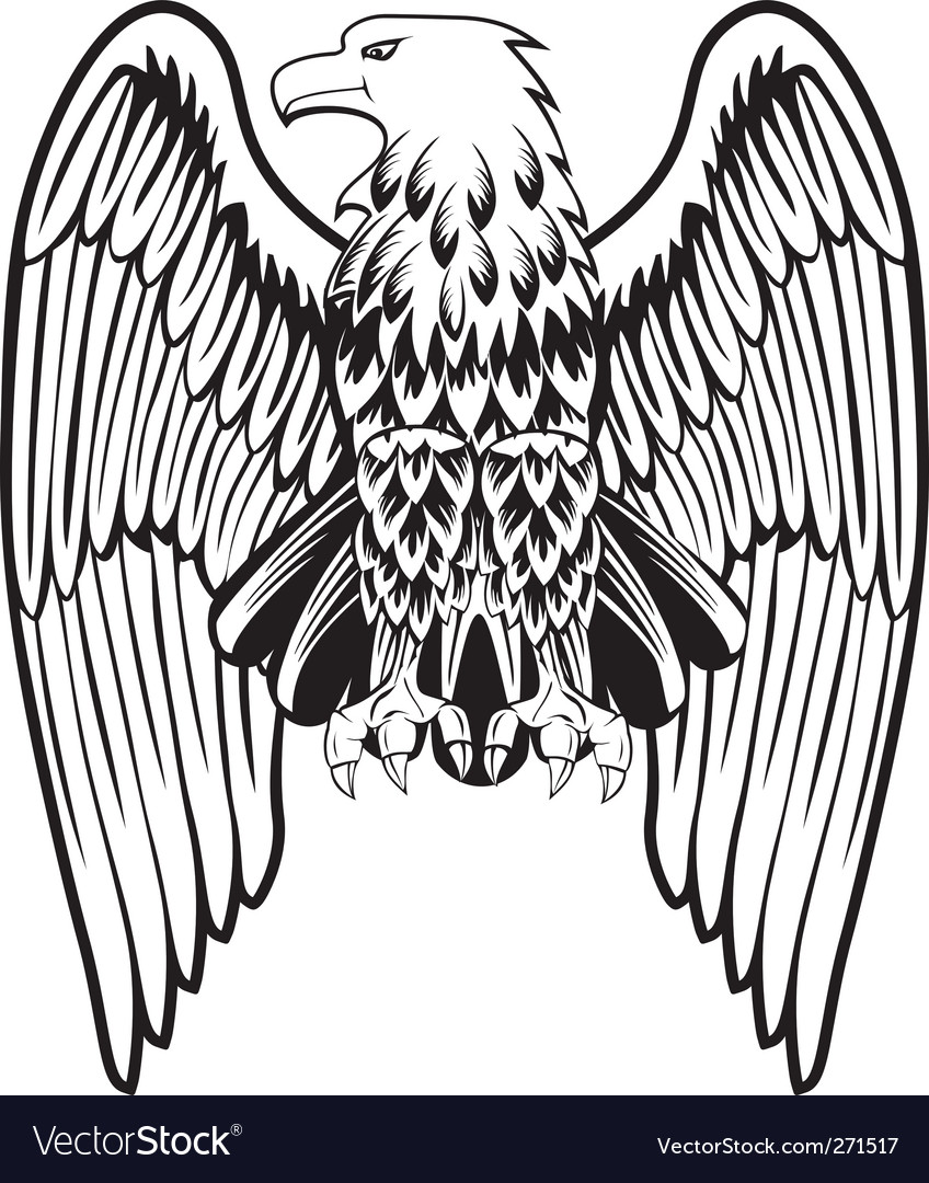 Eagle with the lowered wings vector | Price: 1 Credit (USD $1)