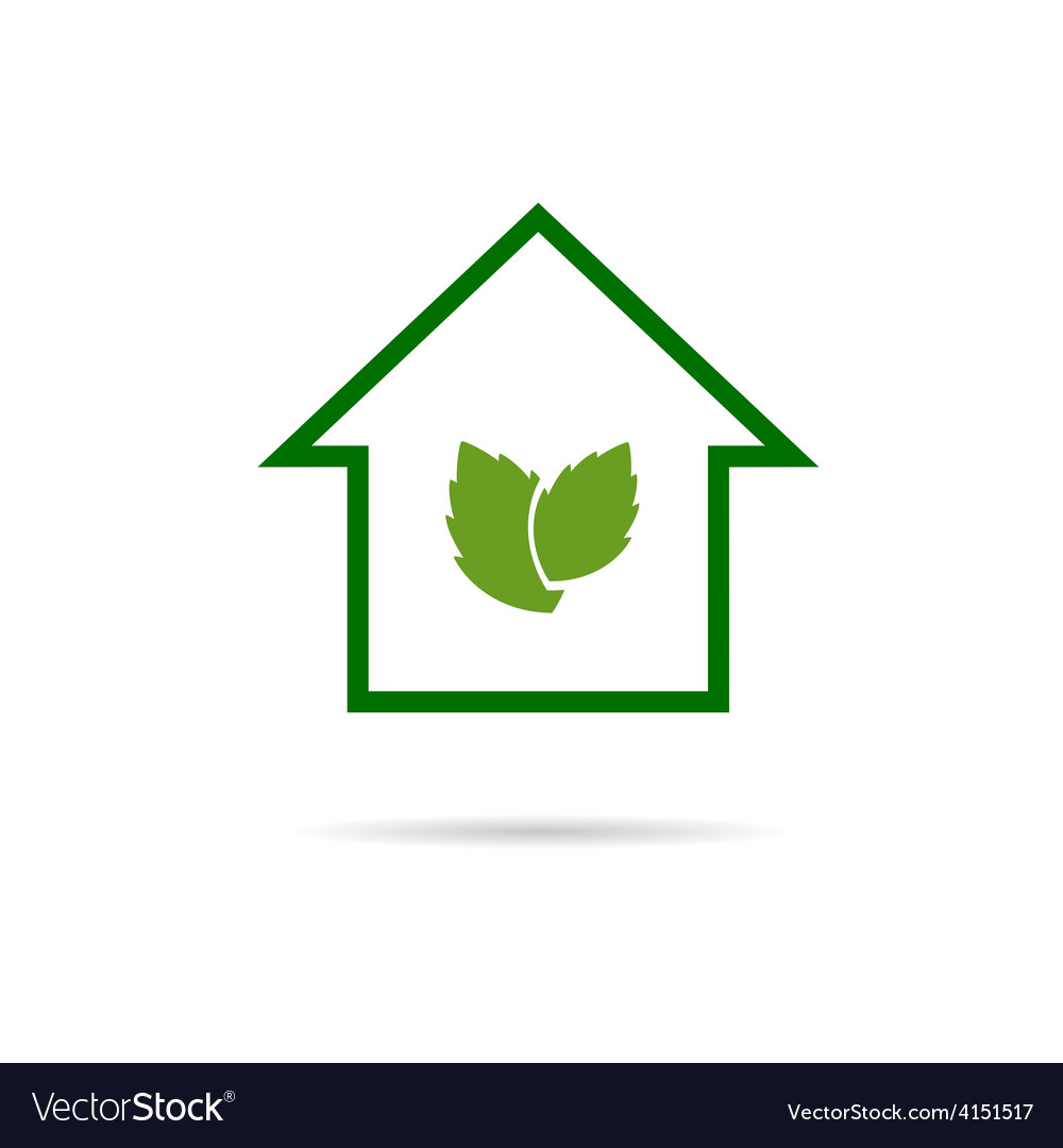 Eco house green vector | Price: 1 Credit (USD $1)