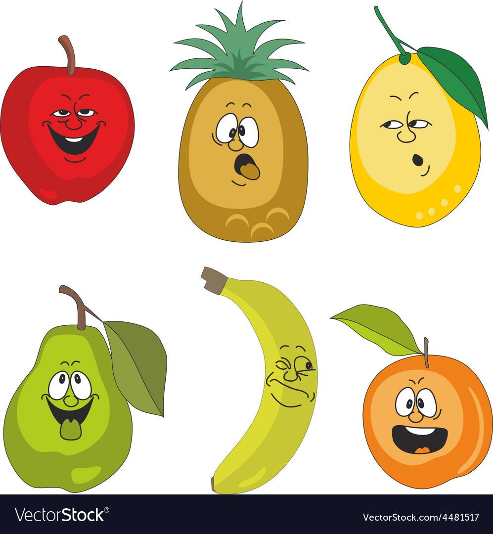 Emotion cartoon fruits set 010 vector | Price: 1 Credit (USD $1)