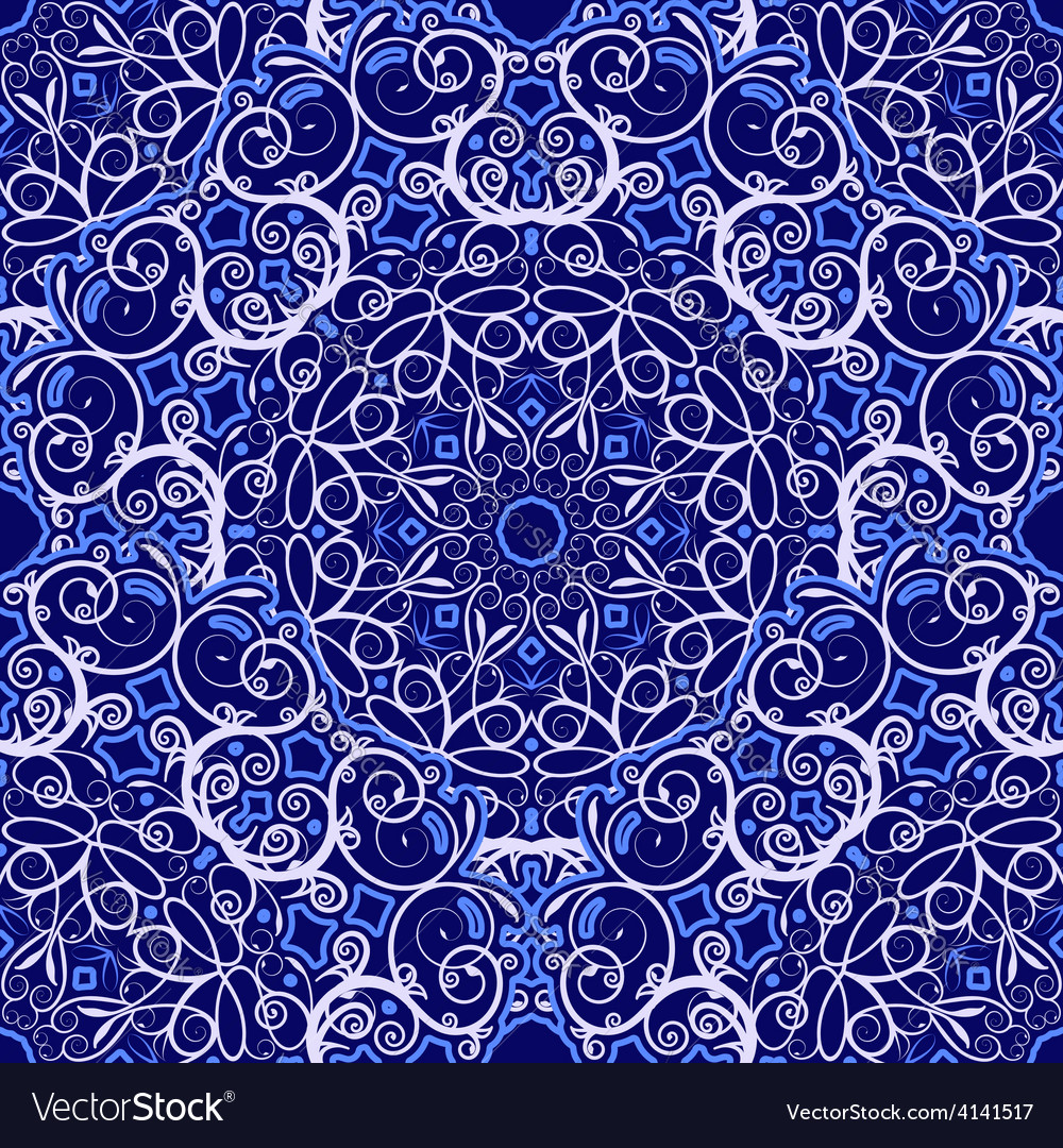 Seamless background of circular patterns navy vector | Price: 1 Credit (USD $1)