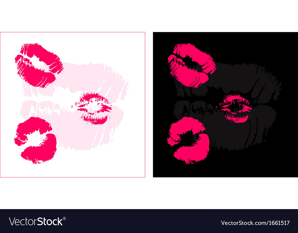 Set of two backgrounds with lips imprints vector | Price: 1 Credit (USD $1)