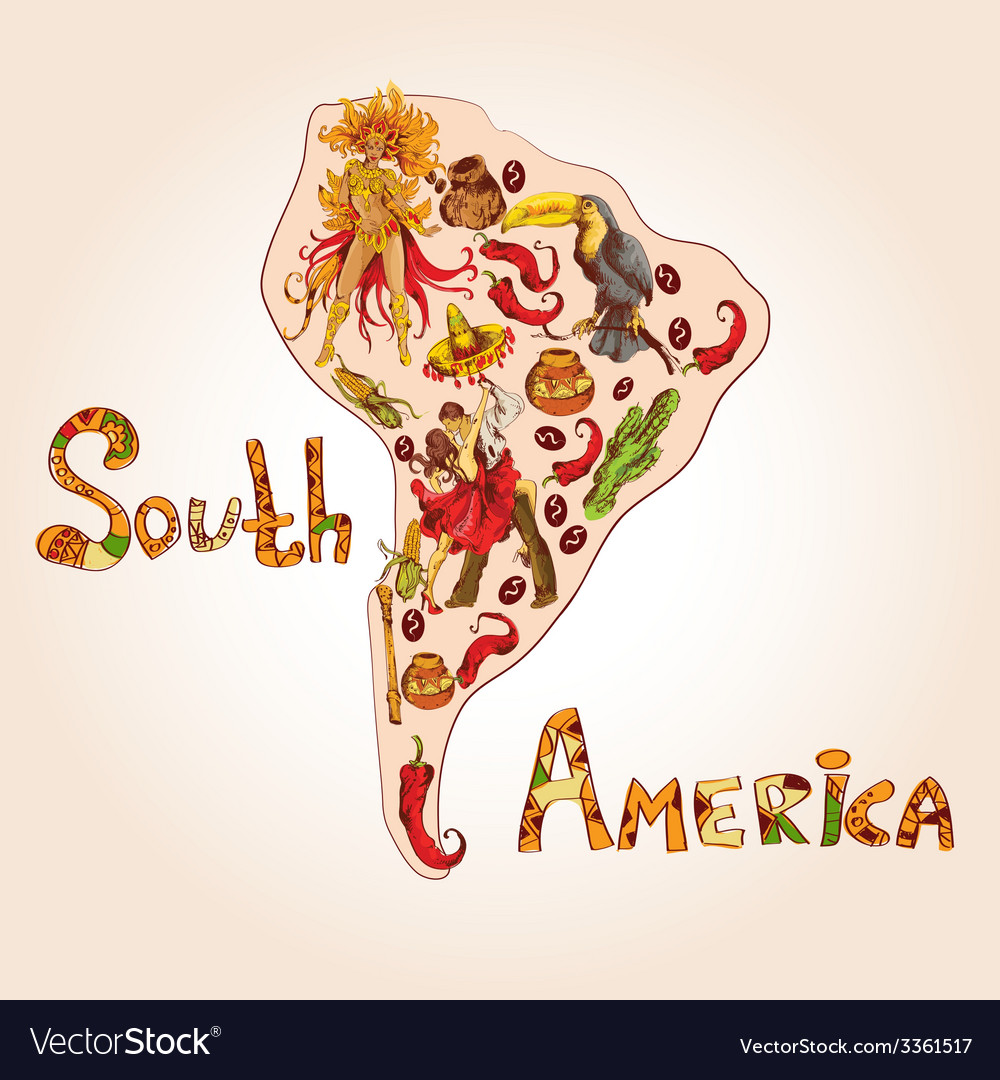 South america sketch concept vector | Price: 1 Credit (USD $1)