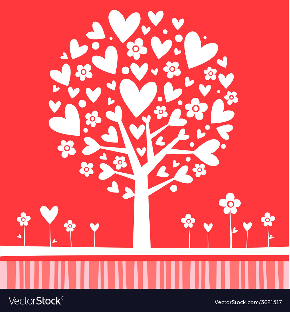 Tree made of hearts vector | Price: 1 Credit (USD $1)