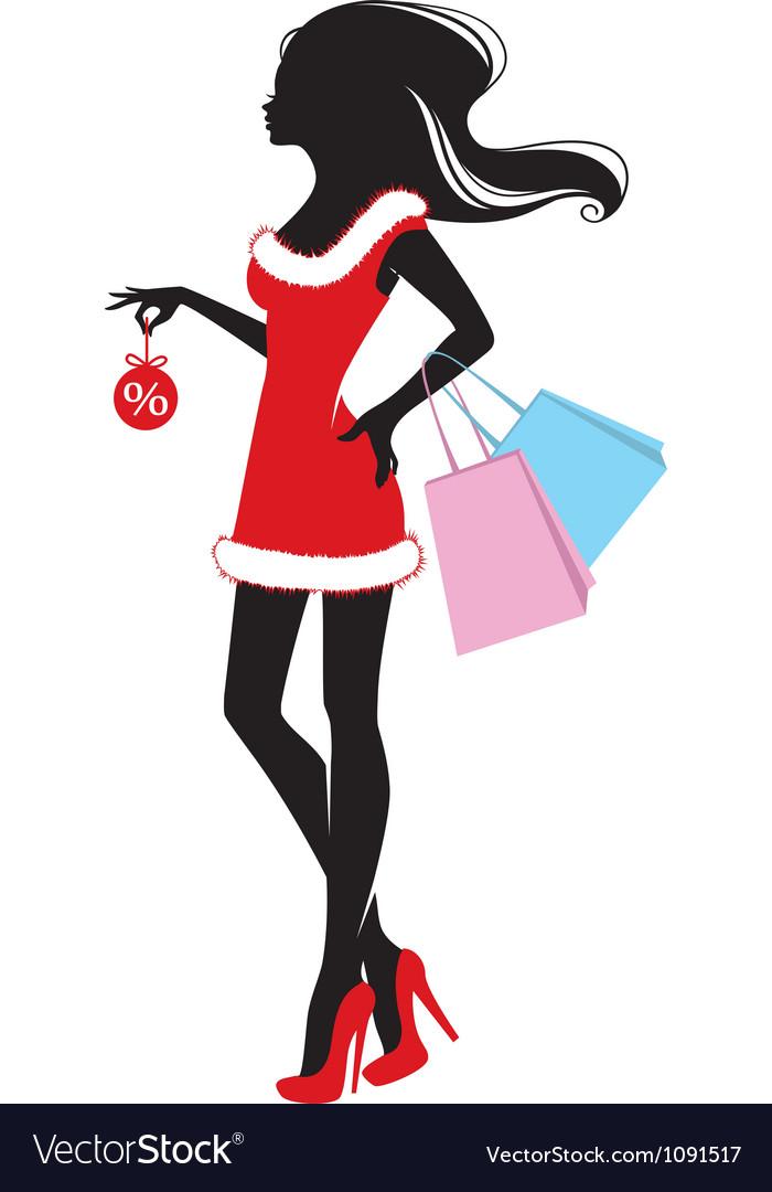 Woman xmas shopping vector | Price: 1 Credit (USD $1)