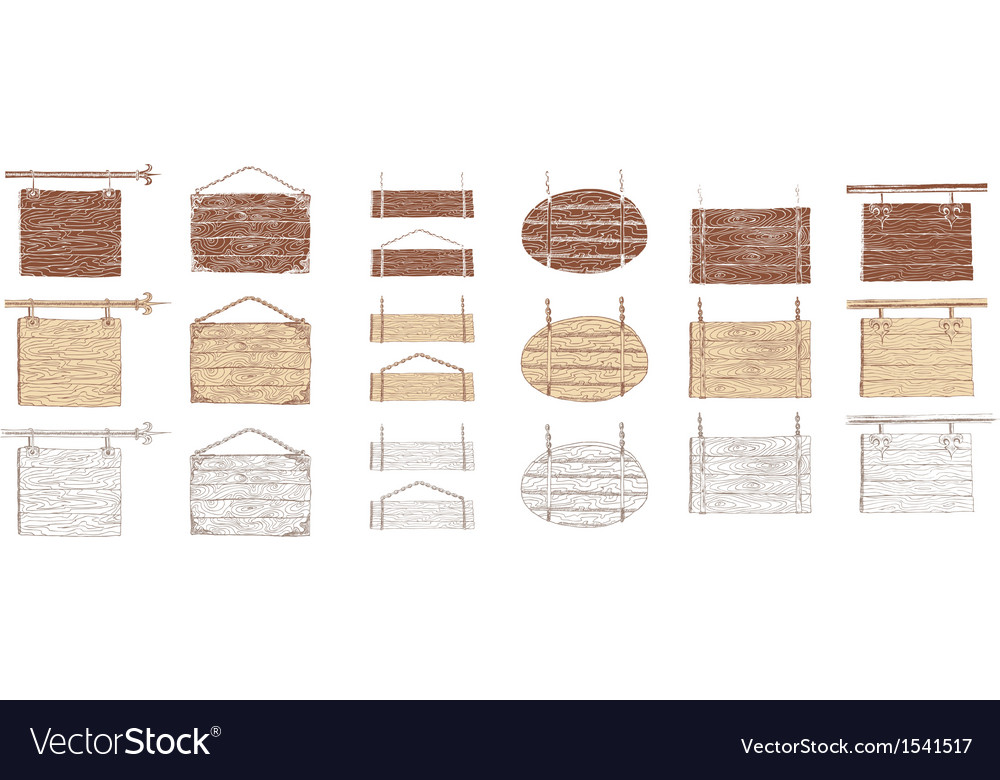 Wooden signboards handdrawn vector | Price: 1 Credit (USD $1)