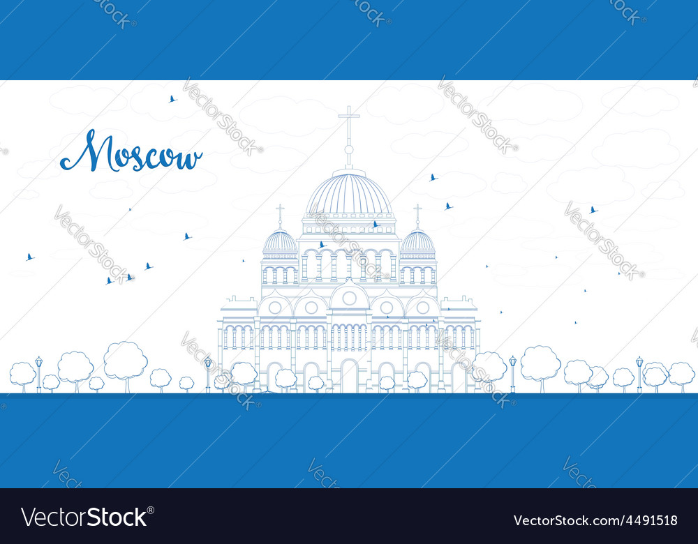 The cathedral of christ the savior outline vector | Price: 1 Credit (USD $1)