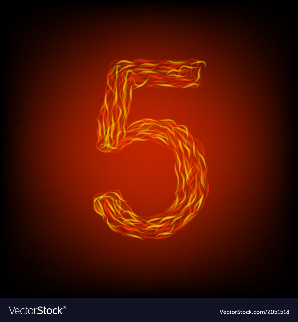 Fire number 5 vector | Price: 1 Credit (USD $1)