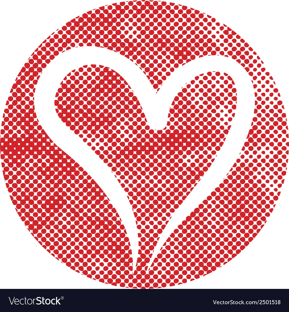 Heart icon with pixel print halftone dots texture vector | Price: 1 Credit (USD $1)