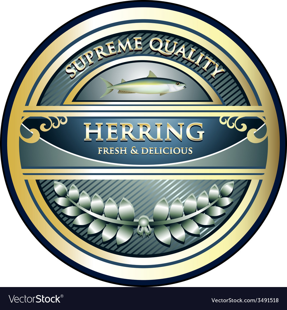 Herring gold label vector | Price: 1 Credit (USD $1)