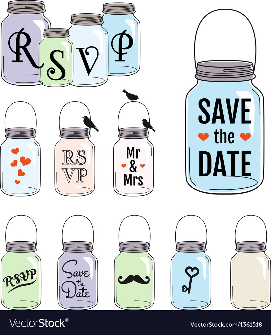 Save the date jar designs vector | Price: 1 Credit (USD $1)