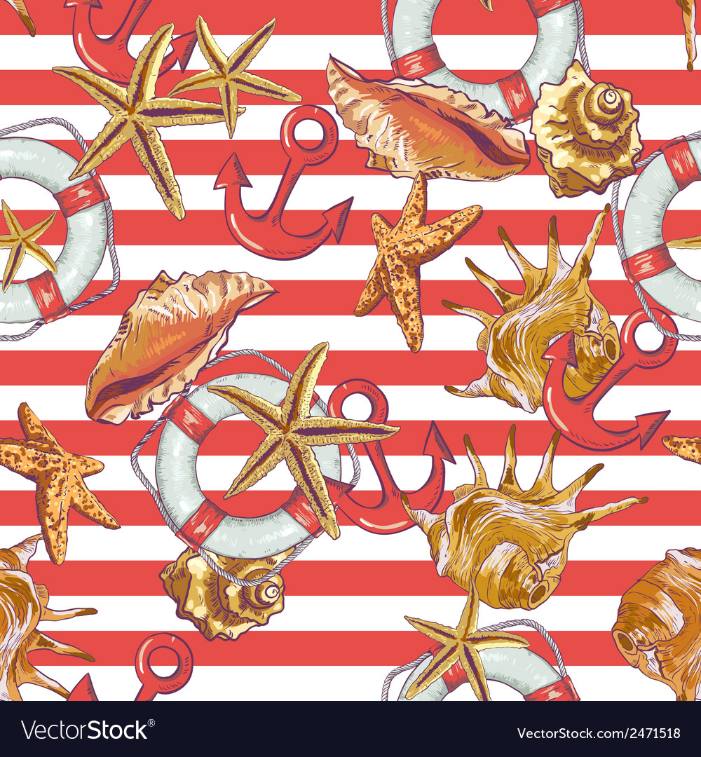 Summer seamless pattern with sea shells anchor vector   Price: 1 Credit (USD $1)