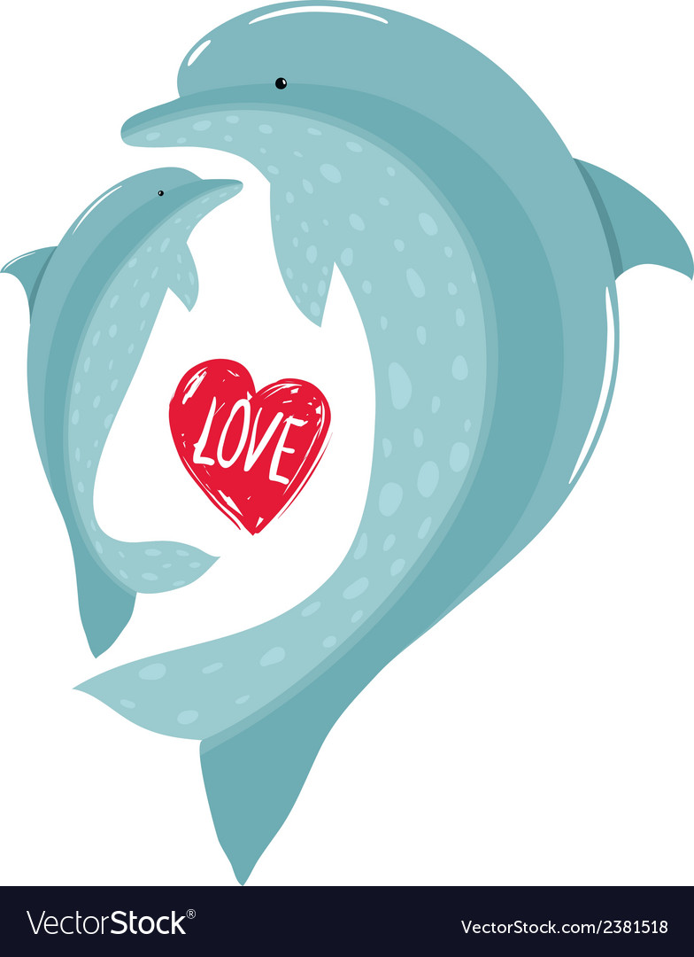 Two dolphins mother and child love vector | Price: 1 Credit (USD $1)