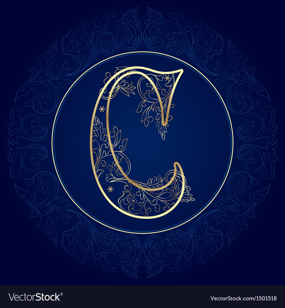 Vintage floral alphabet letter c vector | Price: 1 Credit (USD $1)