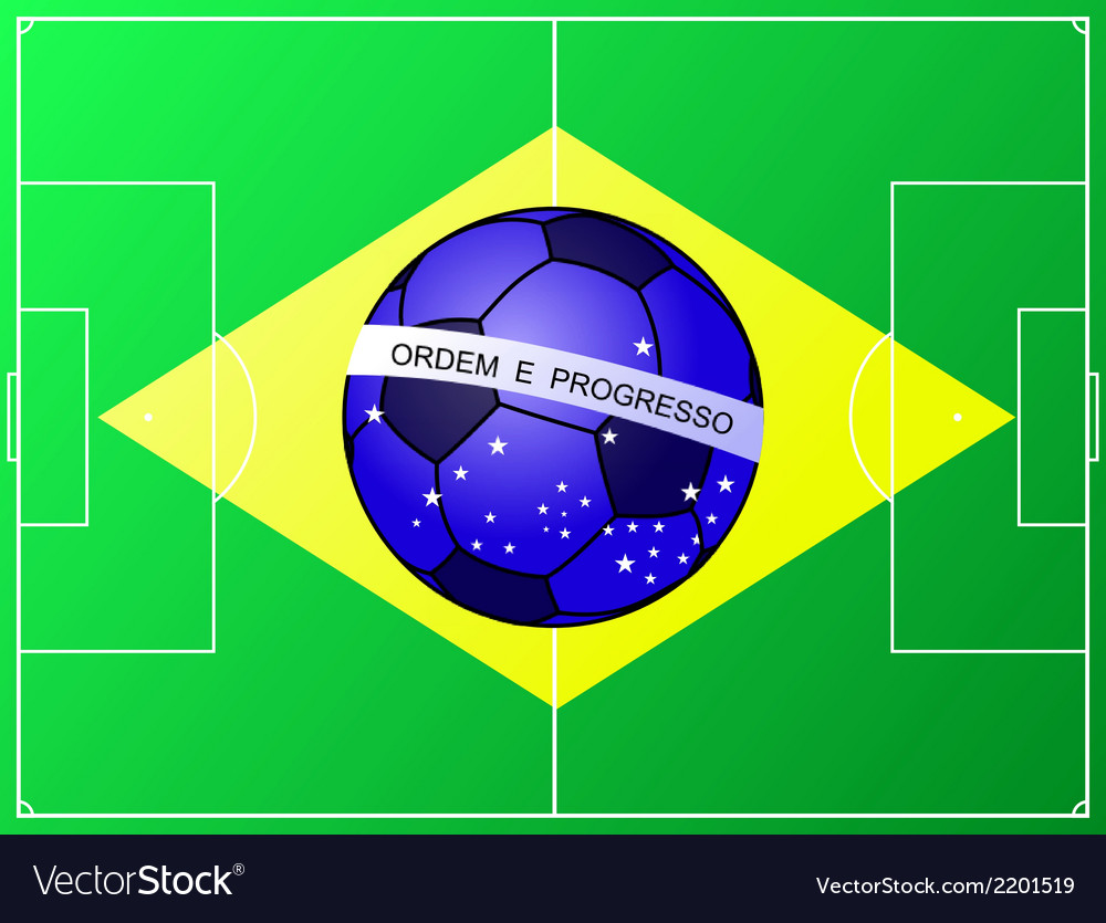 Brazilian football flag with a soccer field vector | Price: 1 Credit (USD $1)