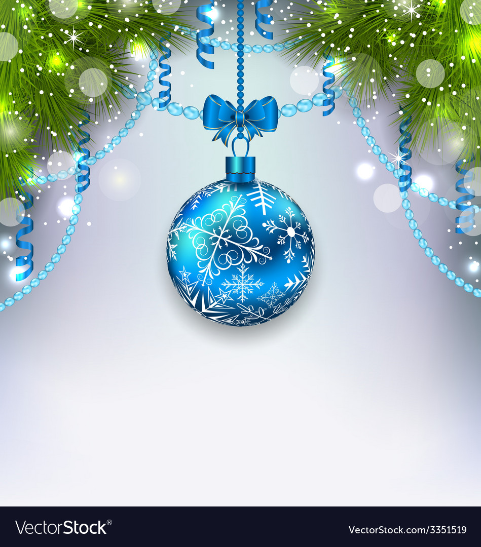 Christmas glass ball fir branches streamer copy vector | Price: 3 Credit (USD $3)
