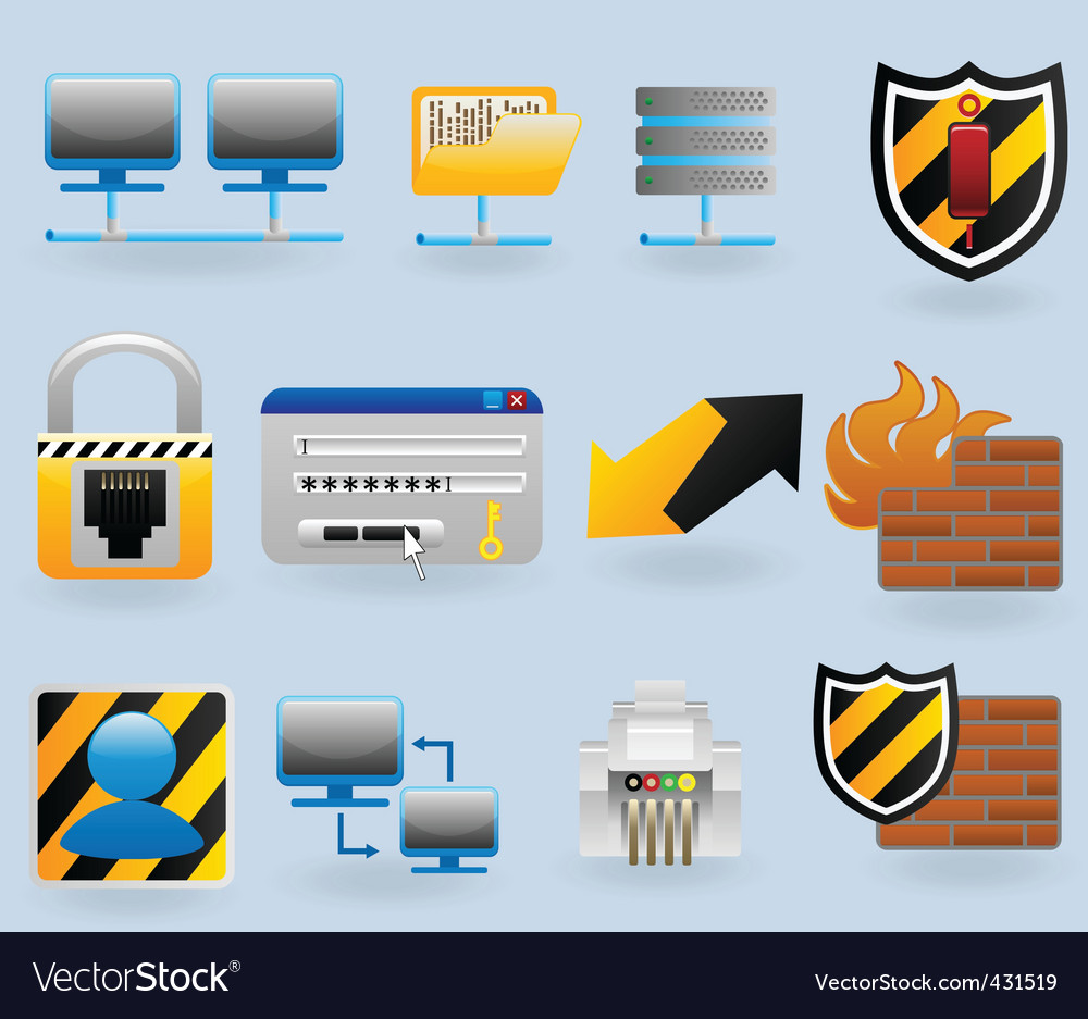 Computer and network vector | Price: 1 Credit (USD $1)