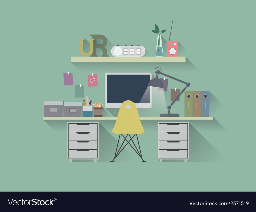 Flat icon working table vector | Price: 1 Credit (USD $1)