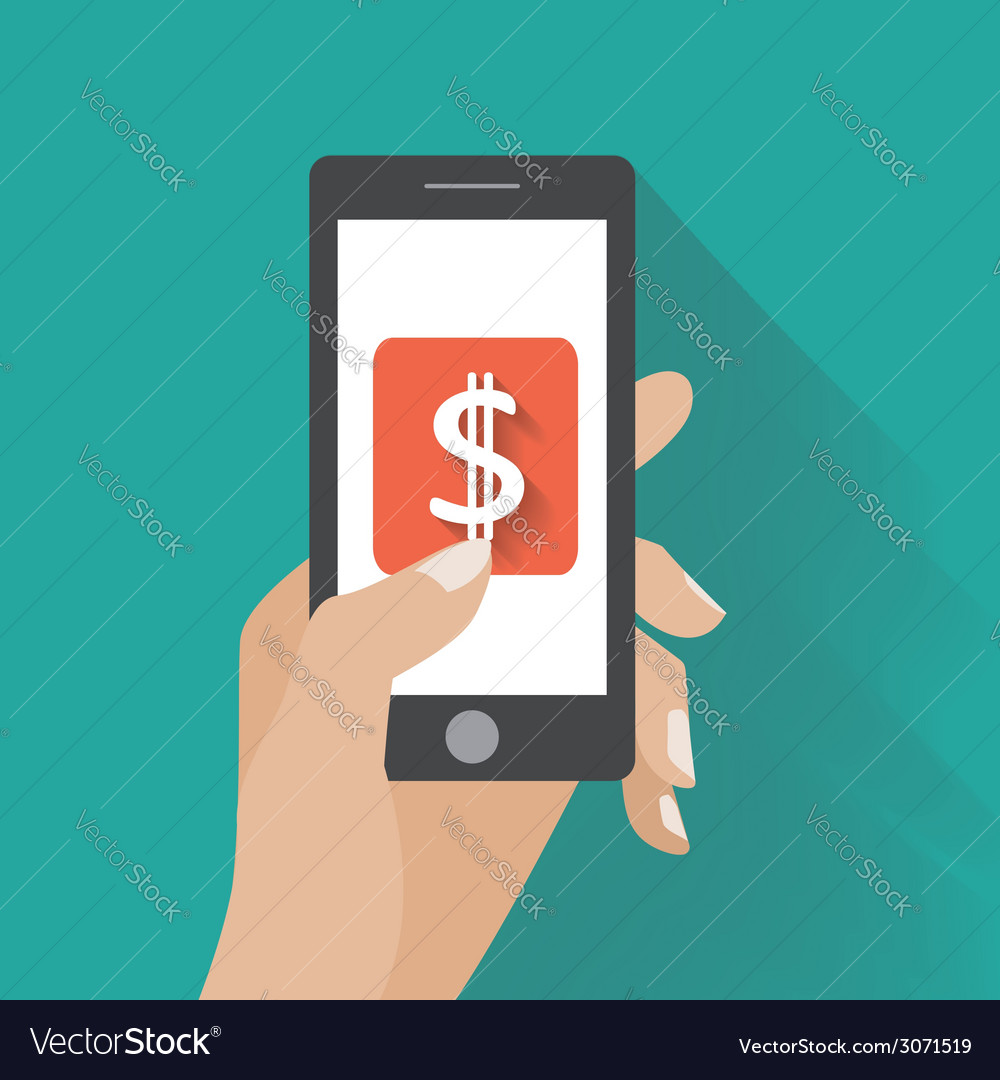 Hand touching smartphone with dollar sign on the vector | Price: 1 Credit (USD $1)