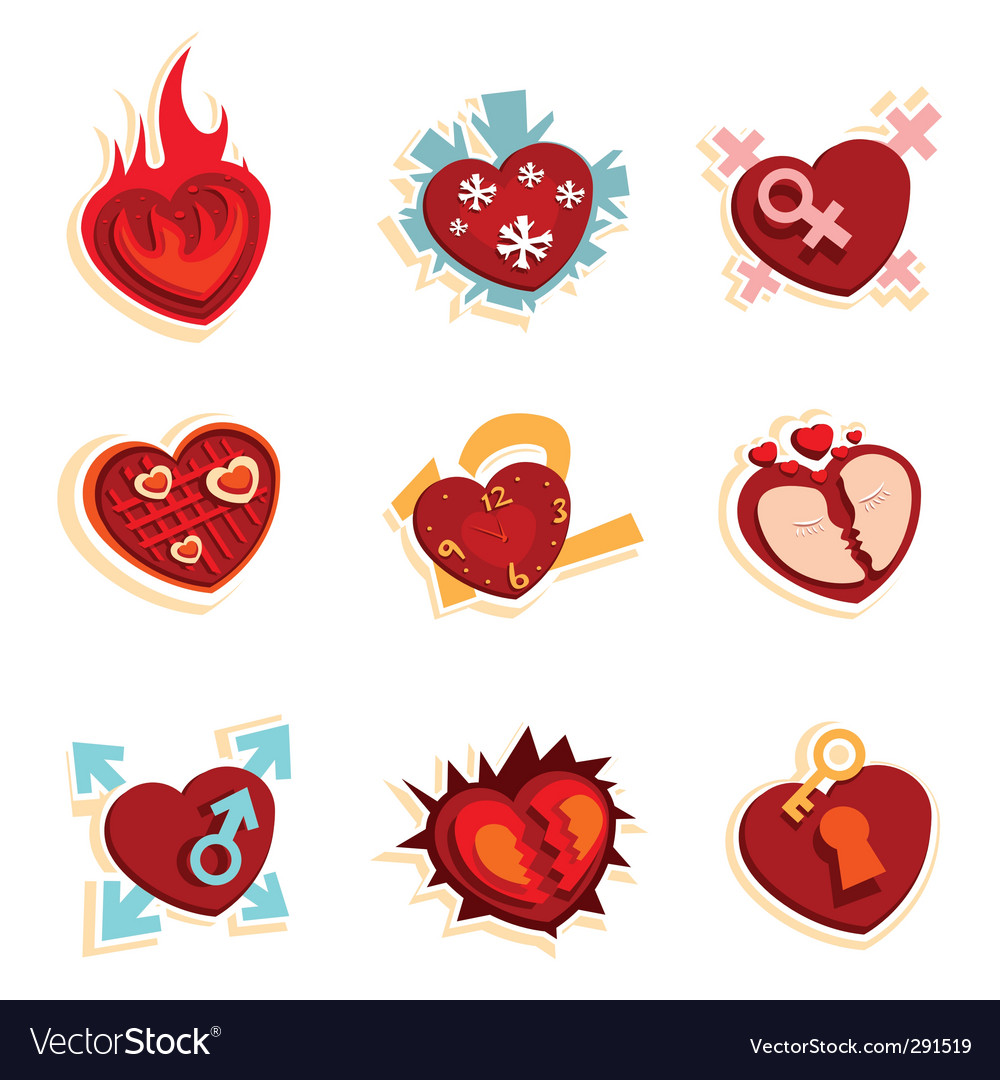 Heart funny icons vector | Price: 1 Credit (USD $1)