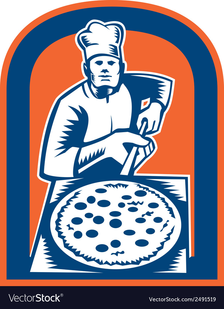 Pizza maker holding pizza peel shield woodcut vector | Price: 1 Credit (USD $1)