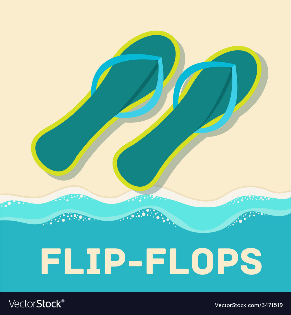 Retro flat flip-flop icon concept design vector | Price: 1 Credit (USD $1)