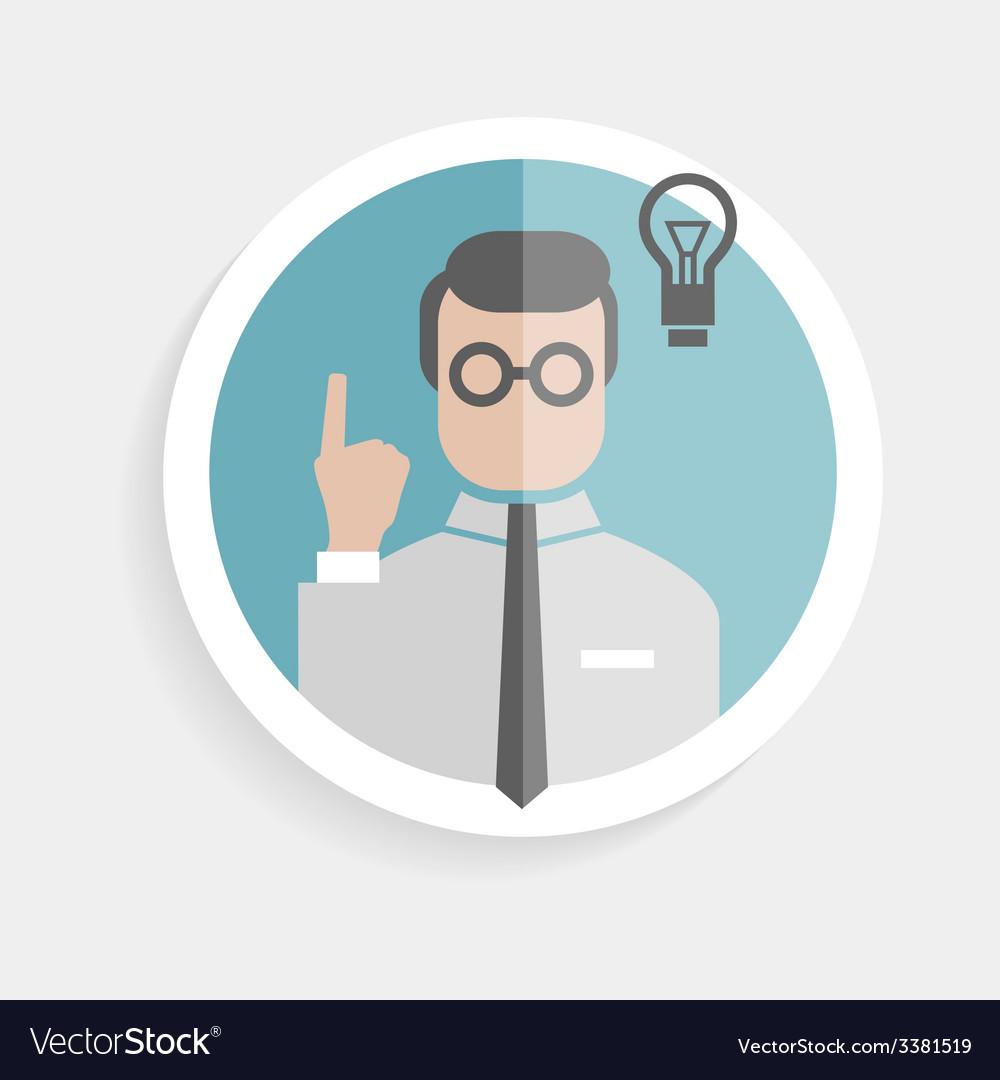 Round paper icon researcher successful man vector | Price: 1 Credit (USD $1)