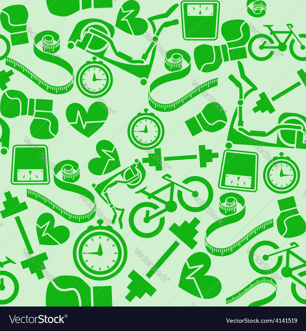 Seamless pattern fitness monochrome green vector | Price: 1 Credit (USD $1)