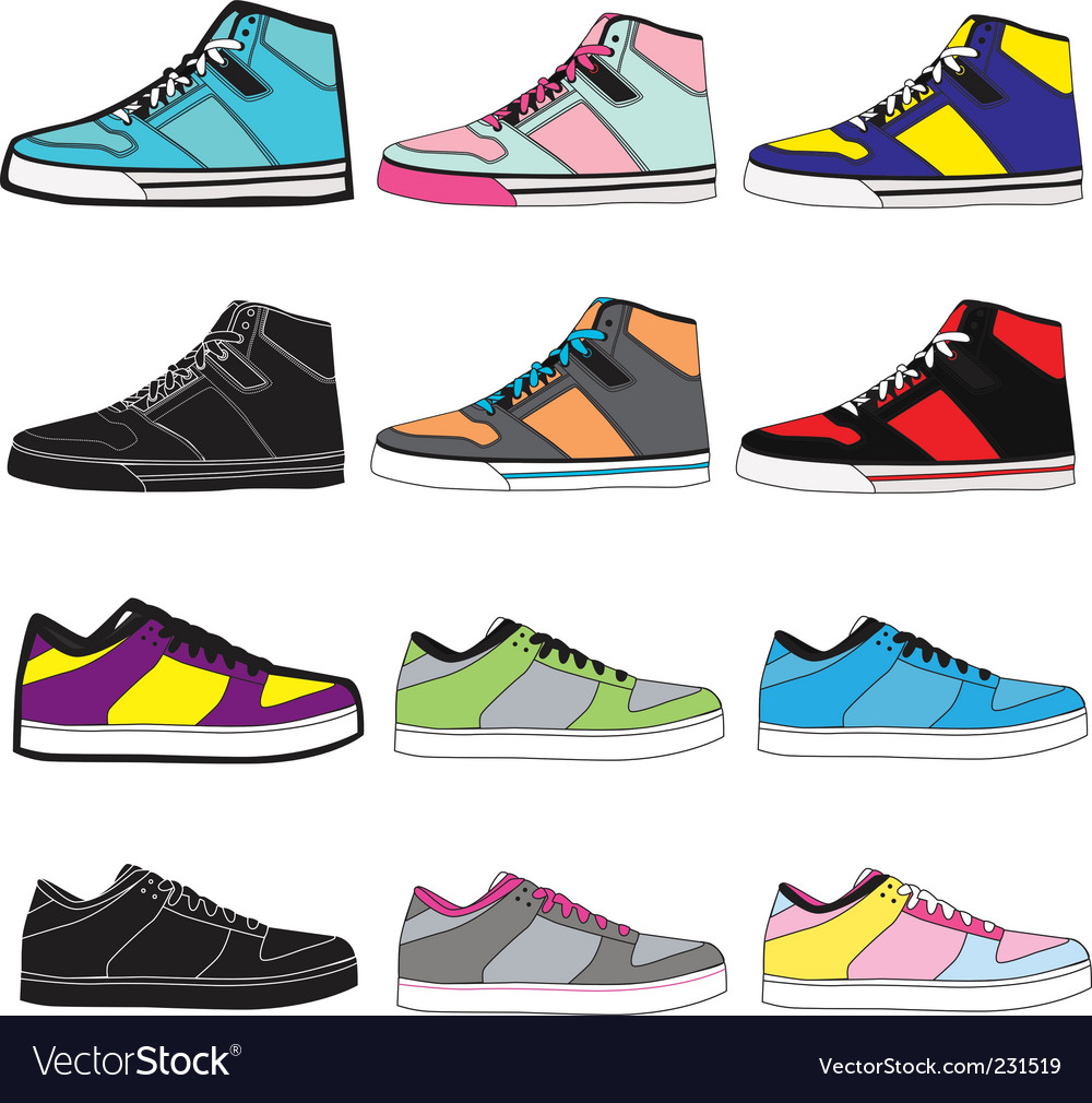 Sneakers set illustration vector | Price: 1 Credit (USD $1)