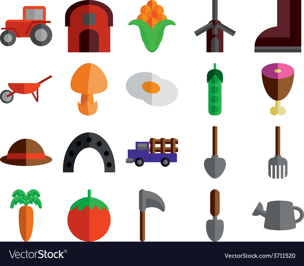 Agricultural icons set vector | Price: 1 Credit (USD $1)