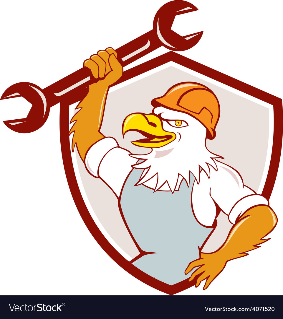 American bald eagle mechanic spanner shield vector   Price: 1 Credit (USD $1)