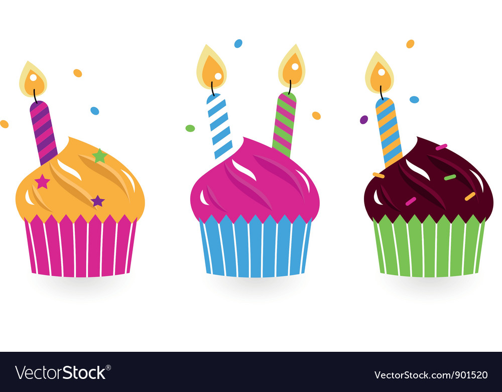 Birthday cakes collection isolated on white vector | Price: 1 Credit (USD $1)