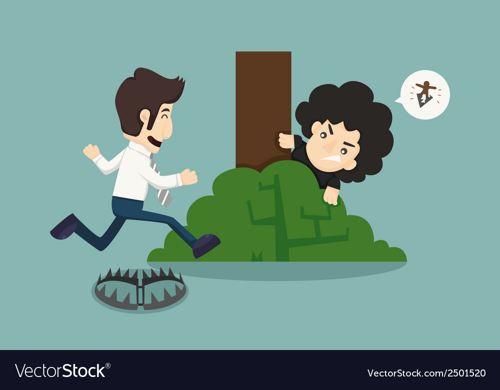 Businessman jump over trap vector | Price: 1 Credit (USD $1)
