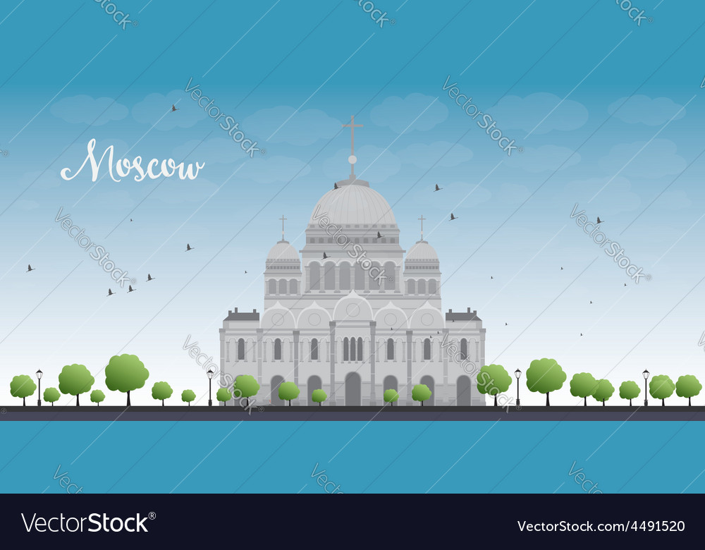 Cathedral of christ the savior in moscow russia vector | Price: 3 Credit (USD $3)